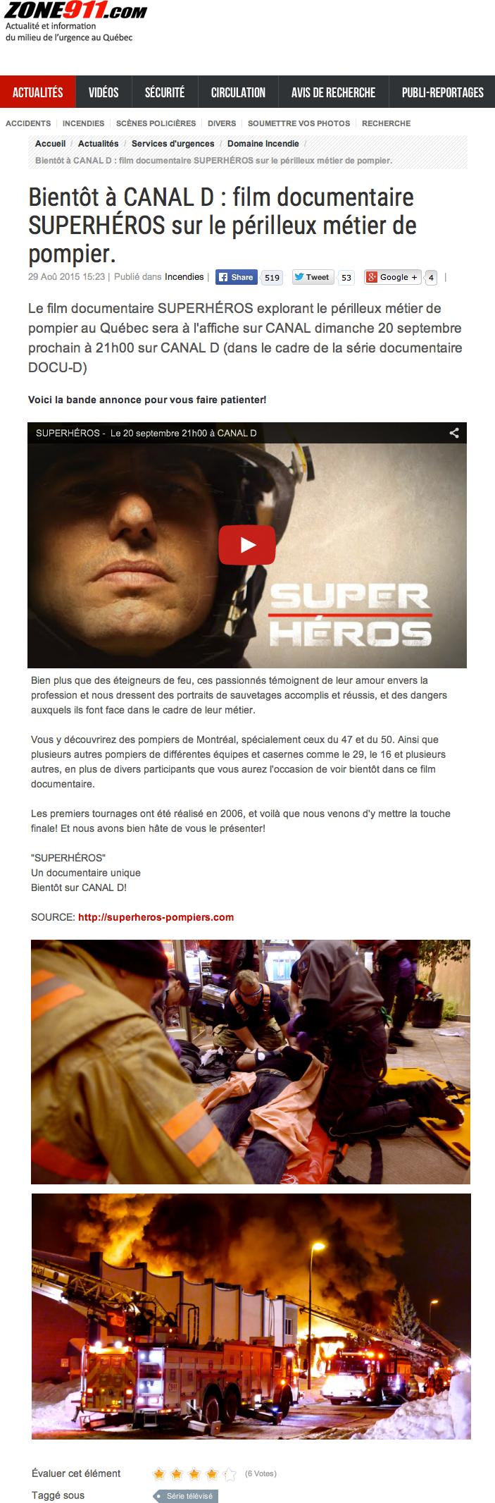 zone 911 - Superhéros, documentaire sur le périlleux métier de pompier (une réalisation de Nathalie Ducharme)
